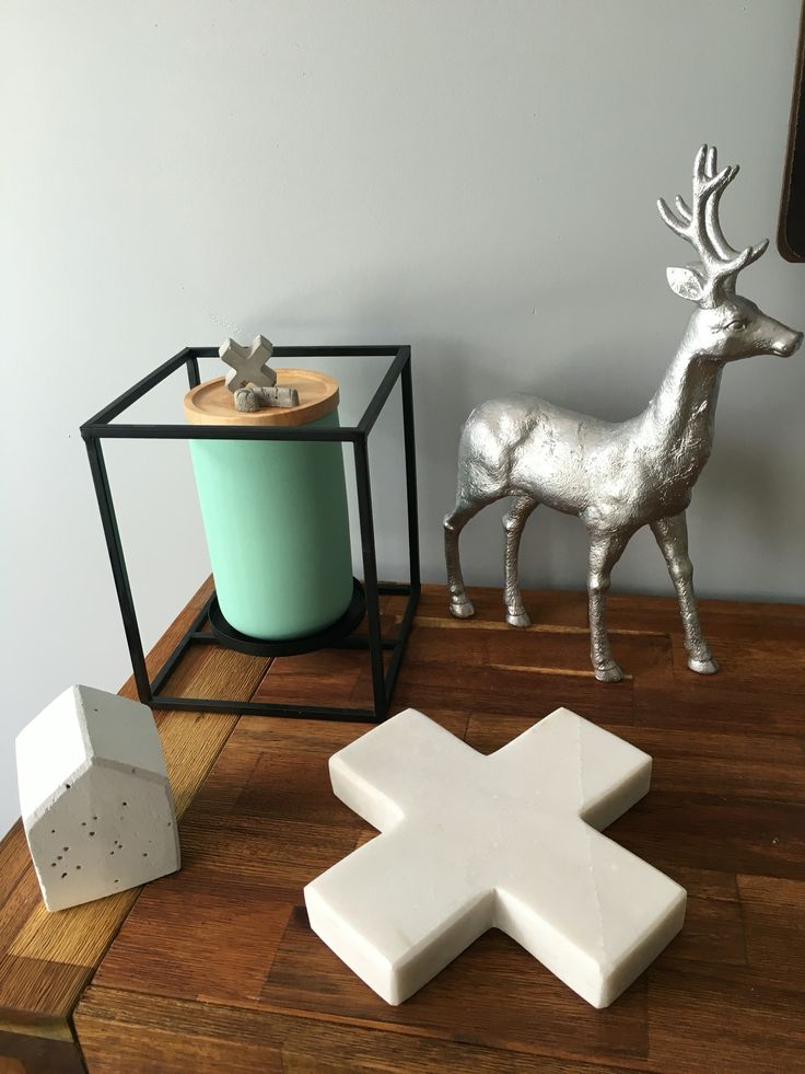Shylo concrete, Kmart marble & candle holder. Loving mint & grey combo