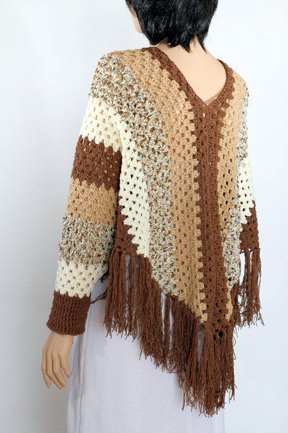 Crochet Sleeved Poncho pattern poncho cape pattern por etty2504
