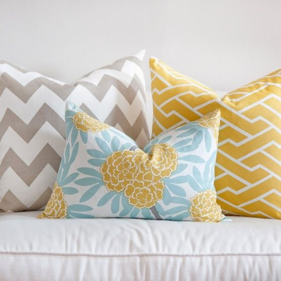 Love these!! These are the colors I want for my bedroom. A light blue, light grey, and a dark dusty mustardy yellow! Beautiful.