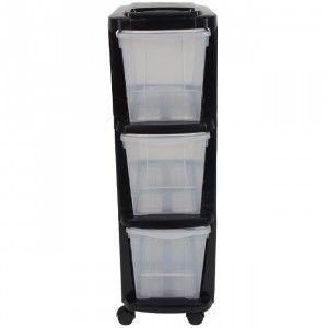 Tour de rangement plastique étroite 3 tiroirs noir - Rangement plastique - Dressing / Buanderie - Entretien / Rangement   GiFi