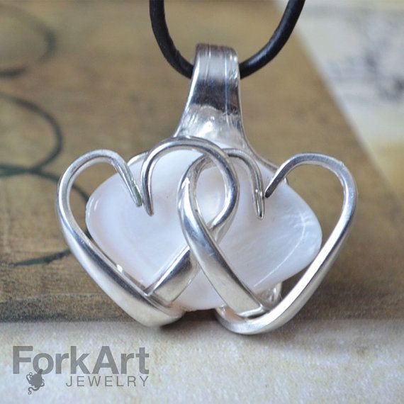 Fork pendant with white shell bead and tines by ForkArtJewelry, $80.00