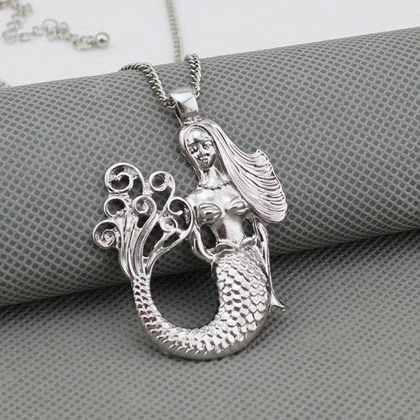 Mermaid Long Necklace (Silver)