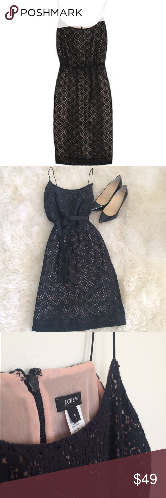 ✨HP✨J. Crew • Lace Blouson Dress • Black Classic Chic HPSpaghetti strap, black lace with shell pink lining; blouson style, this dress is a classic. Zipper in back.  Worn once or twice, in exceptional condition. •Price firm unless bundled   🌟HOLIDAY PRICE DROP J. Crew Dresses