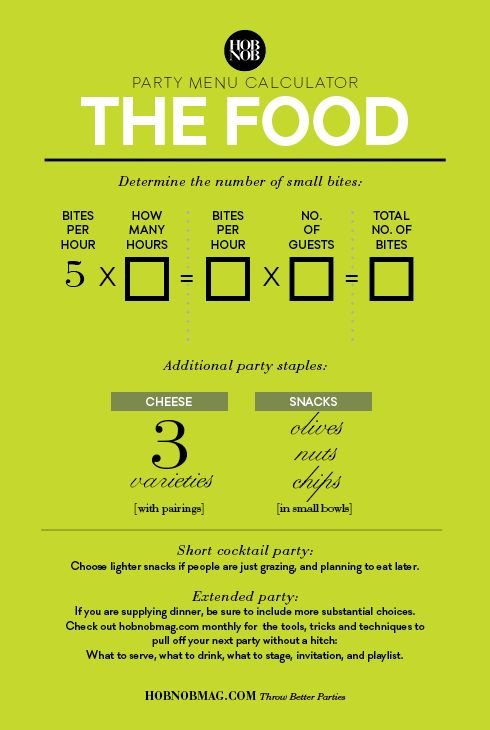 Party Menu Calculator: How Much Food To Serve -- So you've just decided to get your friends together and host a party. What's the best way to get food and drink on the table that will have guests ooh-ing and ah-ing? Here are some factors to keep in mind.