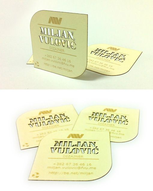 Laser Cut And Engraved Wooden Business Cards For A Graphic Designer