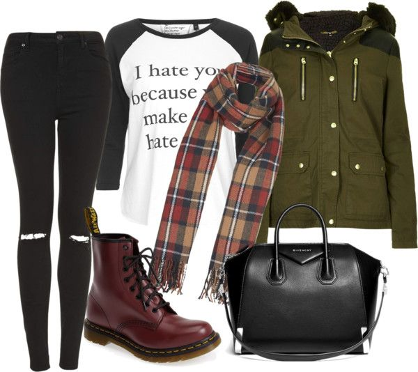 still fall fashion time by kokoplatt featuring dr martens boots Topshop long sleeve tee / Topshop parka / Topshop skinny jeans, $67 / Dr. Martens dr martens boots / Givenchy leather satchel / Topshop...