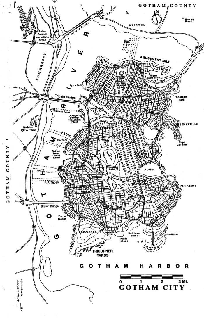 Map of DC Comic's Gotham City  Home of Batman and Arkham Asylum - Eliot R. Brown