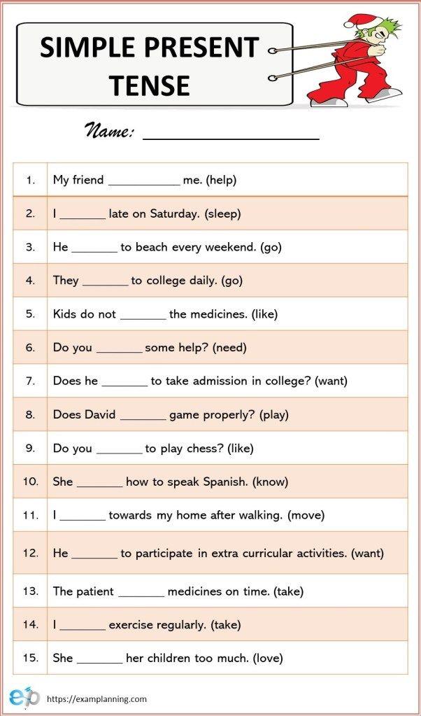 Simple Present Tense Worksheet Simple Present Tense Worksheets Simple Present Tense Simple Past Tense Worksheet