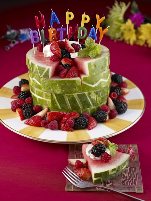 Happy Birthday Cake carved out of a watermelon-See more Watermelon Carvings