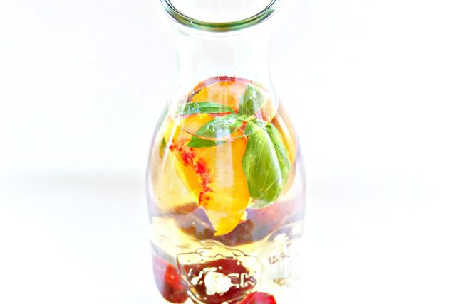 Try a twist on peach sangria. Brandy, Pinot Grigio and peach juice combine with sweet cherries and juicy peaches in this Summer Cherry and Peach Sangria.