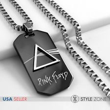 Stainless Steel Pink Floyd Rock Band Black Dog Tag Pendant with Box Necklace 14L