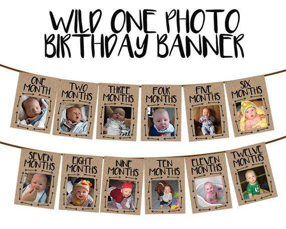 Wild One Banner – Wild ONE Photo Banner – Wild One Birthday Banner – Photo Birthday Banner – 1st Birthday Milestone Banner – Kraft Boy