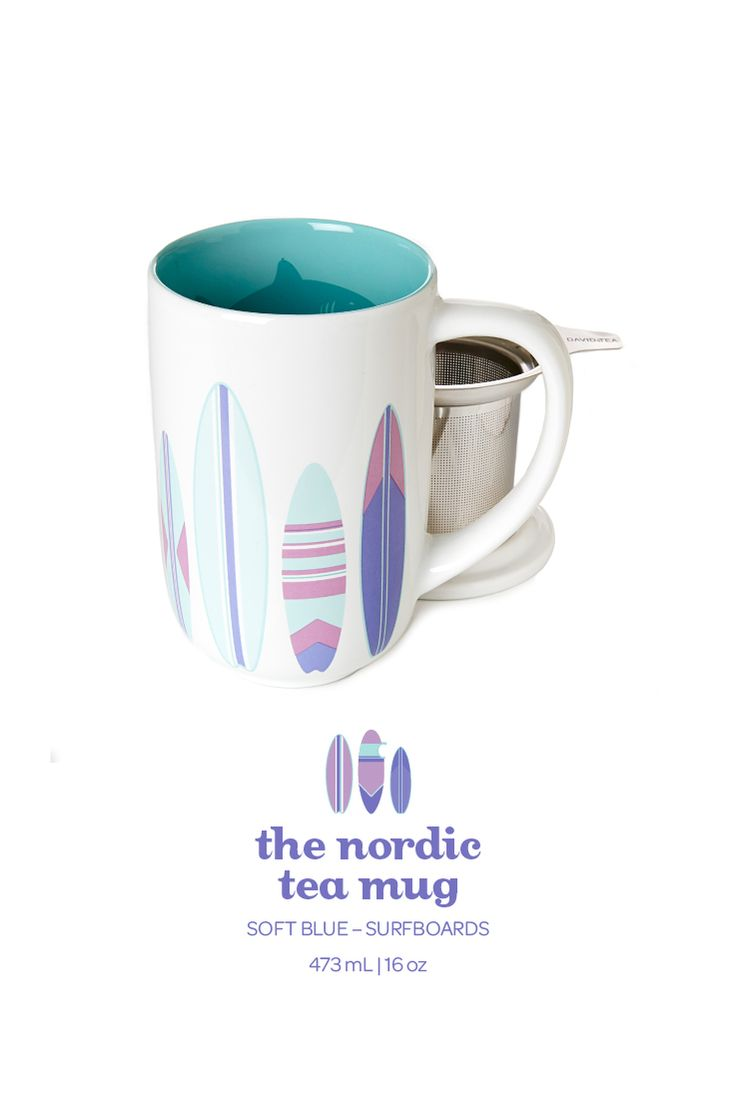 surfboard nordic mug.  Escape to the beach with this cool surfboard-printed mug. Includes lid and infuser.
