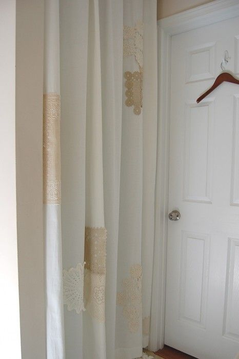 Doily Shower Curtain :: The Post Where I Sit on The Toilet and Iron
