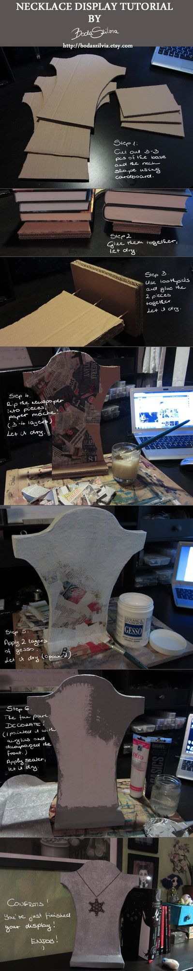 Necklace display tutorial by *bodaszilvia on deviantART (comes with a great homemade glue recipe too)