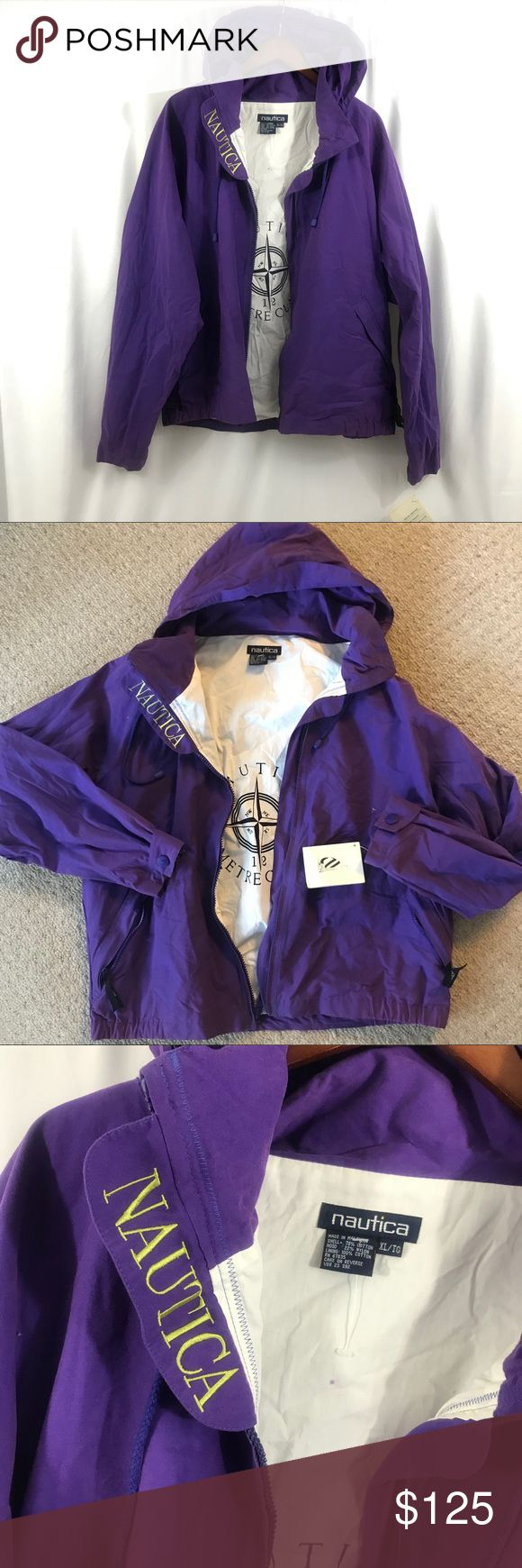 """NWT Vintage Nautica Purple Logo Sailing Jacket XL Vintage but new with tags! Nautica jacket Size XL Bust- 54"""" Length from shoulder to hem- 28"""" Nautica Jackets & Coats Windbreakers"""