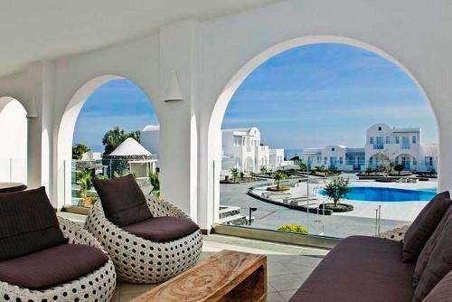Exterior lounge,El Greco Hotel, Fira, Santorini, Cyclades, Greece