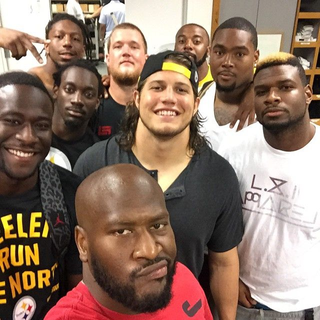 If I have this correct, left to right, top to bottom: LB Bud Dupree #48, G Reese Dismukes #61, QB Tajh Boyd #2 WR Sammie Coates #14, DE L.T. Walton #78 QB/WR Devin Gardner #15, LB Anthony Chickillo #40, LB Terrence Garvin #57 LB James Harrison #92