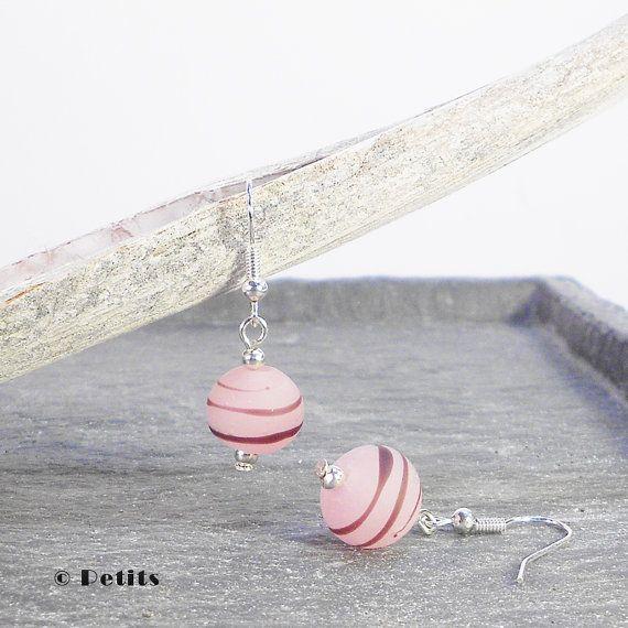 Pink sugar:  Orecchini con perle a lume in di LampworkAndMore