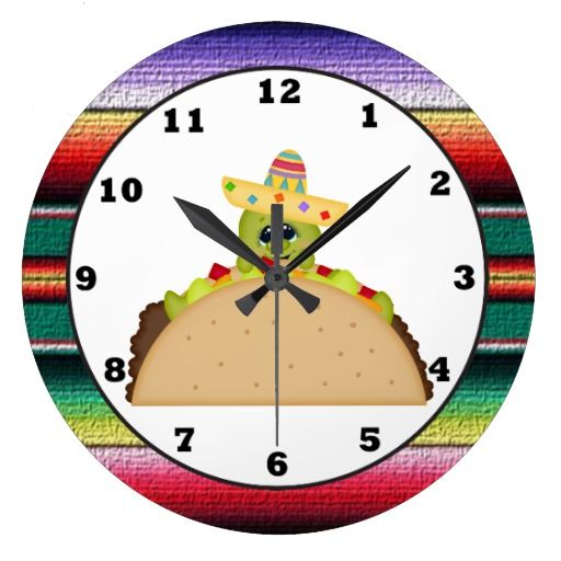 Taco Turtle cartoon Southwestern wall clock