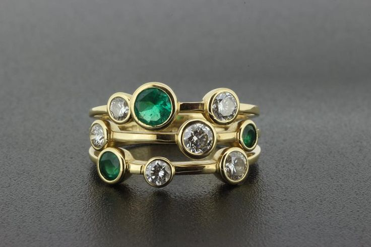 We recently worked on designing and making this stunning yellow gold raindance style ring with Emeralds and Diamonds. Our customer wanted an emerald ring to wear at her daughters wedding, but to keep away from a traditional eternity style band. Something that can be worn everyday, whilst still being a breathtaking piece, and in years to come be passed down. Rub over set stones and multi band design.  #emeraldanddiamond #ruboverset