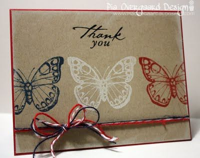Case this card using the new Papillon Potpourri stamp set from SU.: Cards Ideas, Cards Stampin Up Kraft, Handmade Cards, Cards Butterflies, Butterflies Cards, Thanks You Cards, Patriots Cards, Pia Overgaard, 90 Minute