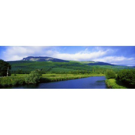 Posterazzi River Roe Binevenagh Co Derry Ireland Basalt Plateau And River From Limavady Canvas Art - The Irish Image Collection Design Pics (44 x 14)
