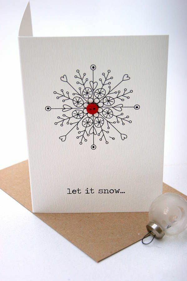 weihnachtskarten basteln schneeflöckchen roter knopf