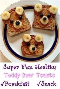 Super Fun Healthy Teddy Bear Toasts are so delicious, super cute and a great way to encourage children to eat more fruit. #breakfast #healthybreakfast #funfood #superhealthykids #easyrecipes
