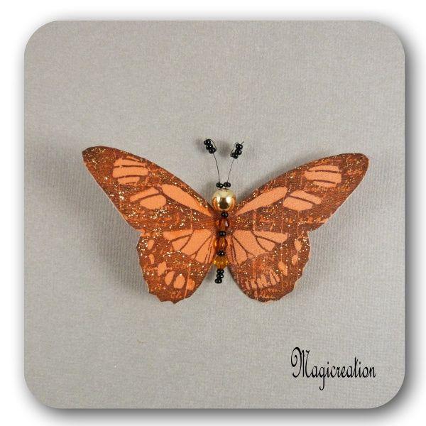 MAGNET PAPILLON SOIE ORANGE DORE - HELENA - Boutique www.magicreation.fr