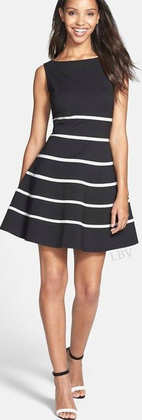 'Ella' Stripe Fit & Flare Ponte Dress | LBV ♥✤