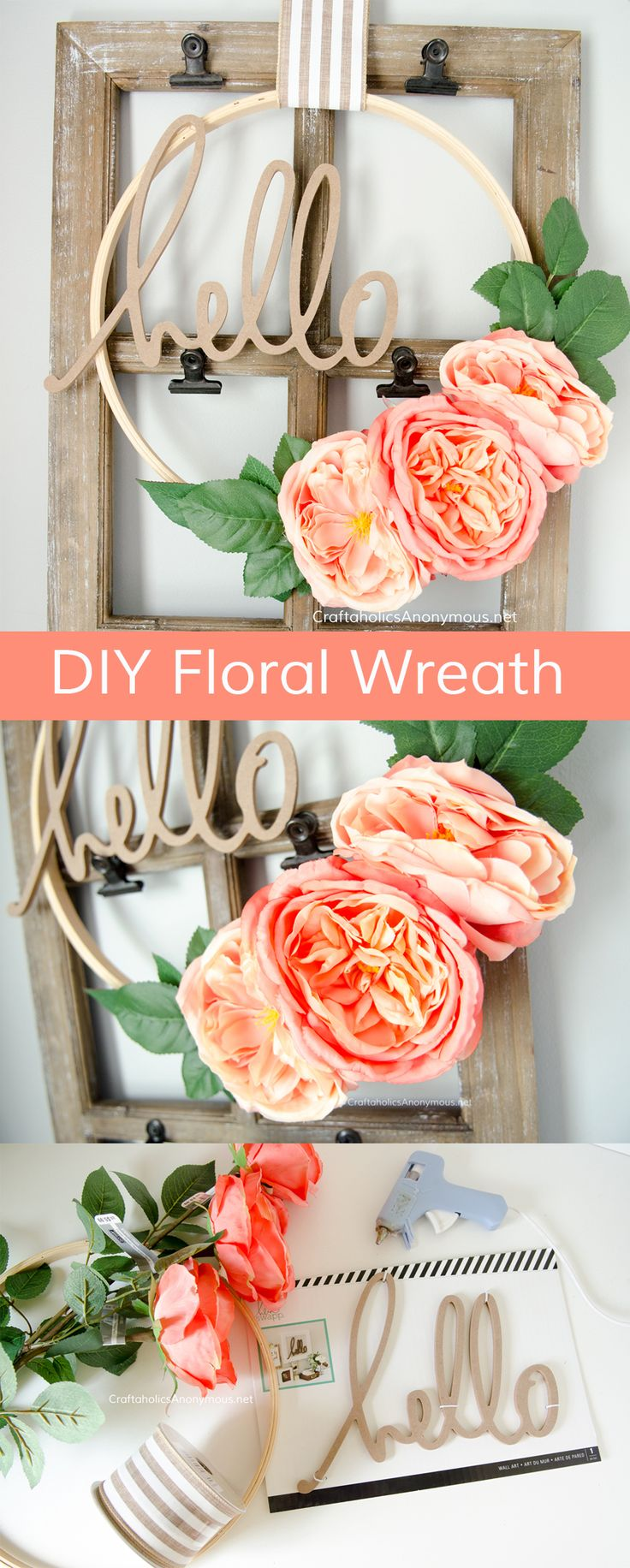 DIY Floral Embroidery Hoop Wreath found on CraftaholicsAnonymous.net