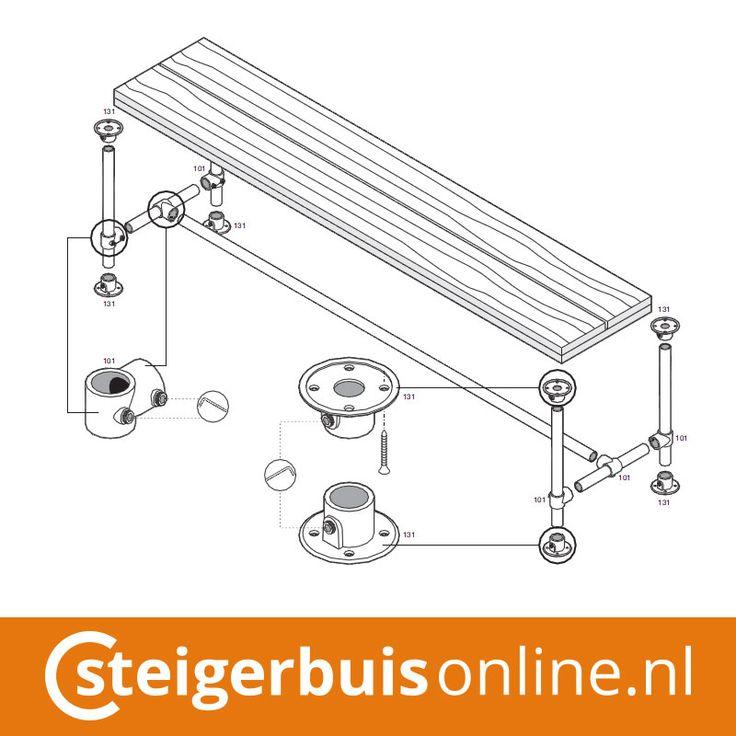 Werktekening (DIY) - Bankje van steigerbuis