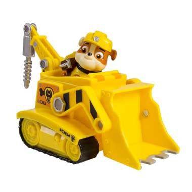 Rijd met Rubble in de bulldozer naar elke missie. Rubble is een Engelse bulldog die gek is op snowboarden en skateboarden. Rubble is de constructiehond van het Paw Patrol team. Hij draagt een geel pakje en heeft een bulldozer.  #speelgoed #toys