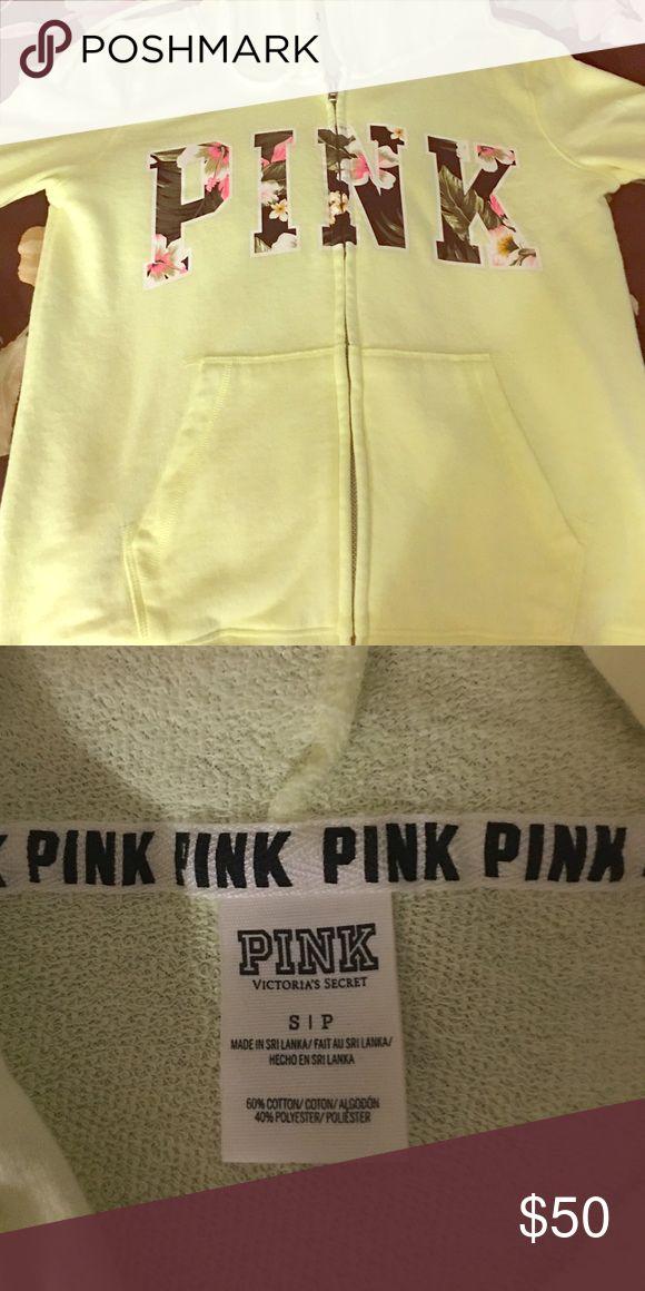 NWOT VS PINK Floral Zip Up Hoodie Size Small Neon VS PINK Floral Zip up hoodie - Size Small PINK Victoria's Secret Jackets & Coats