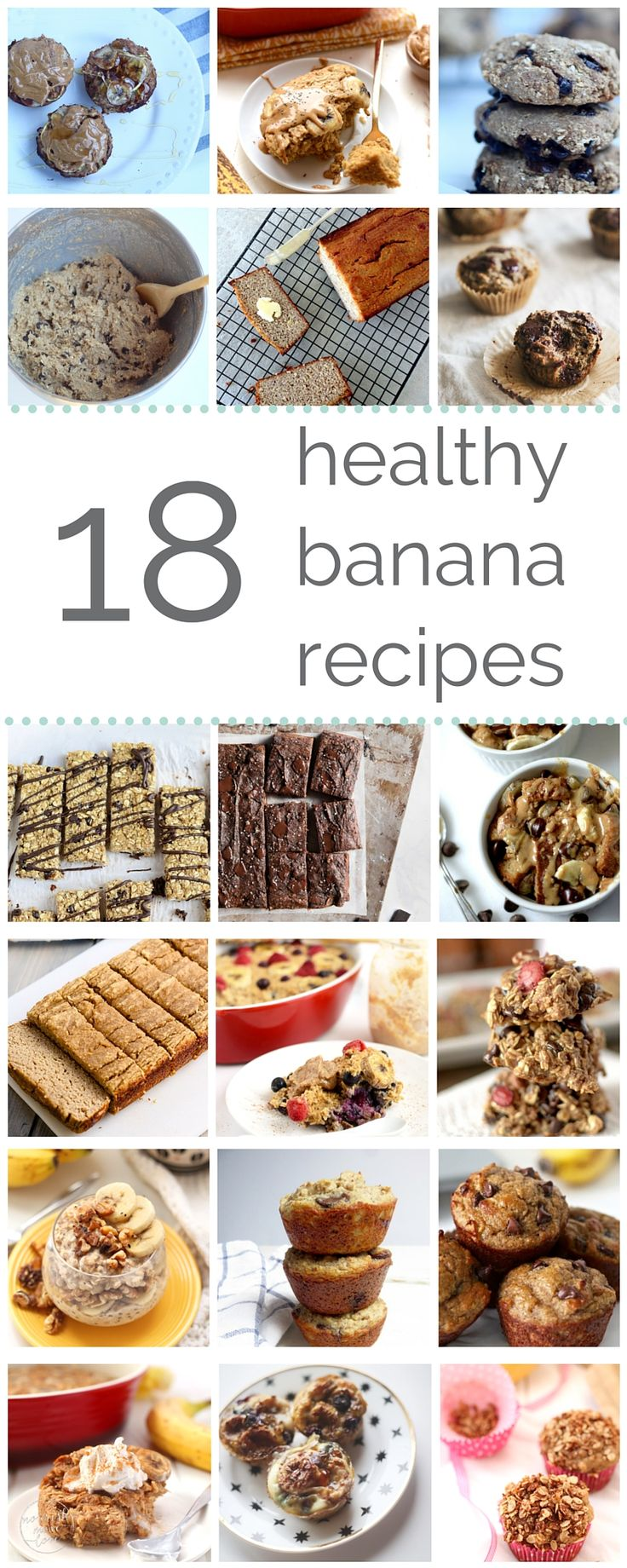 18 healthy banana recipes to satisfy your carb cravings | go bananas with these 18 deliciously healthy ways to use over-ripe bananas. from double chocolate banana bread to peanut butter banana oatmeal bake, these recipes are sure to satisfy all your carb cravings {guilt and gluten-free}! | banana bread I banana recipes I healthy desserts I healthy banana bread I healthy baking II Nourish Move Love #bananabread #dessertrecipes #snacks