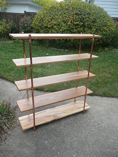 "Elm & Copper Pipe Shelves by Paul Segedin Elm & Copper Pipe ~ 64"" x 48"""