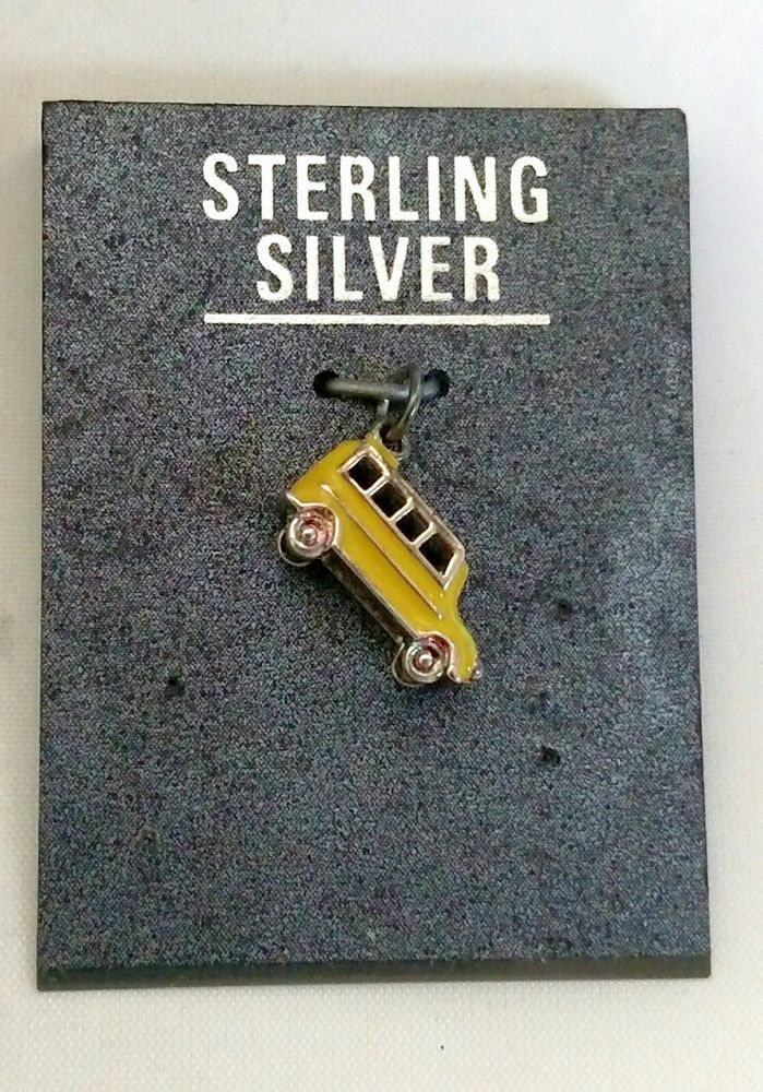 School Bus Charm Retro Sterling Silver with Yellow Enamel Small Charm NEW 925 #Unbranded