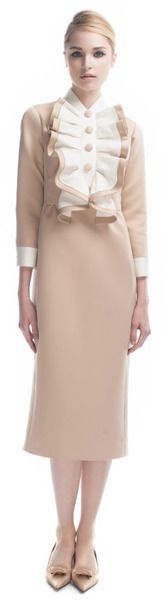 MARC JACOBS 2013 Satin Gabardine Dress with Ruffled Bib #bib #dress #gabardine…