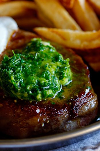 Steak & Egg with herbed chilli-butter (and chips). #recipe #dinner #steak