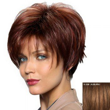 Women's Fashion Side Bang Human Hair Side Bang Straight Wig (AUBURN) in Capless Wigs | DressLily.com
