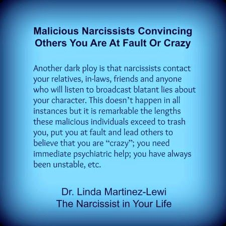narcissistic abuse - malicious narcissist convincing others you are at fault or crazy