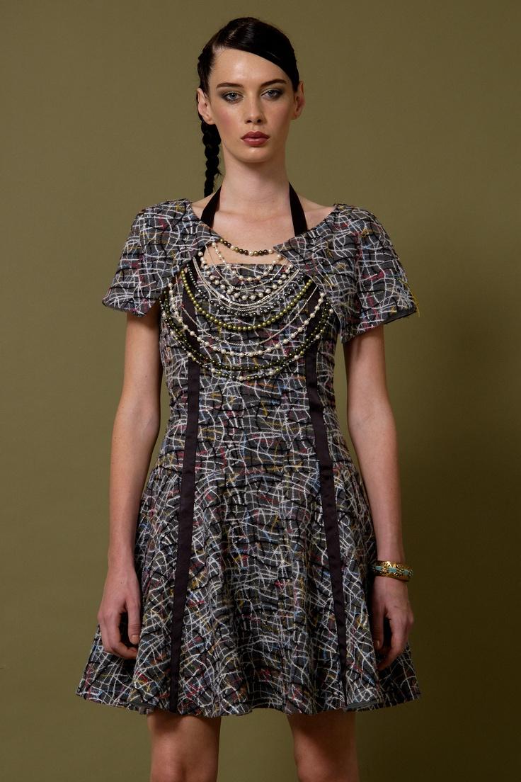 Model Wears 'Lotus' 100% Felt /Wool A-line Dress With Glass Swarovski Pearl & Crystal Cape...