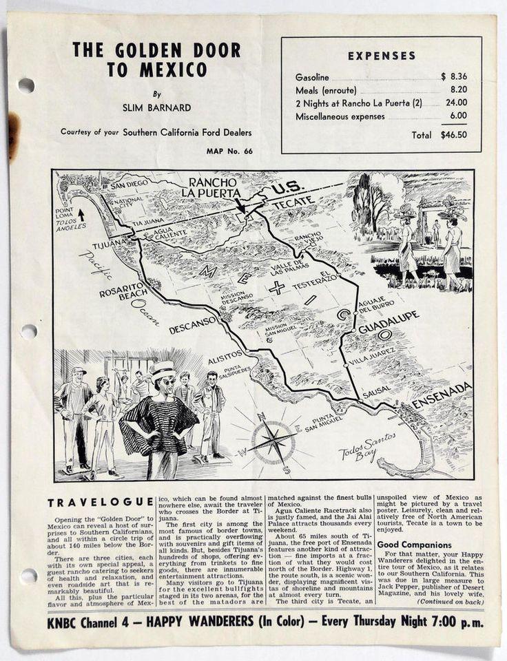 1960's TIJUANA ENSANADA TECATE MX Happy Wanderers Travelogue MAP Slim Barnard