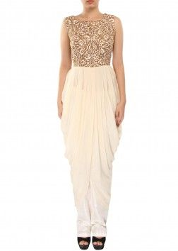 Cream kurti enhanced in zari embroidery along with cowl drape only on Kalki