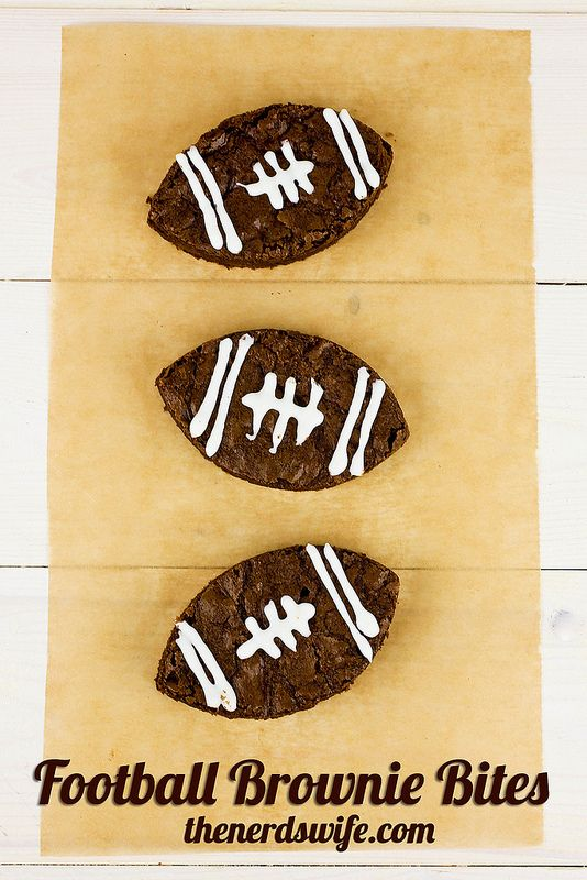 Football Brownie Bites are perfect for your big football game party or super bowl.