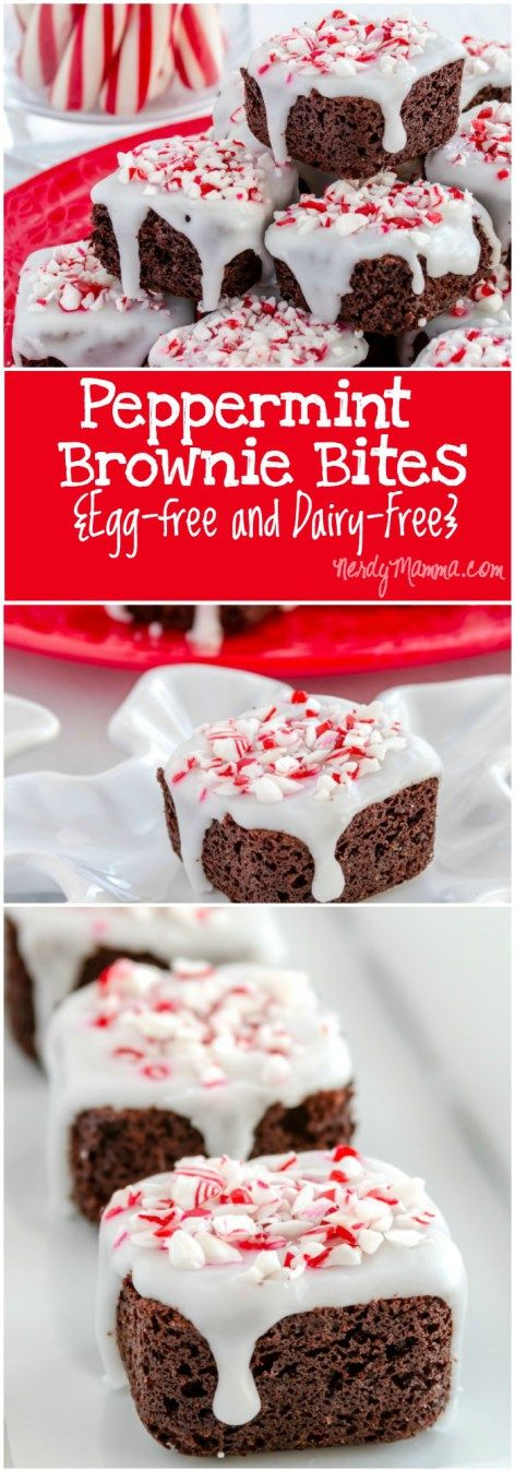 These peppermint brownie bites are the perfect dessert for Christmas...egg-free and dairy-free, they are allergy-friendly and if you make it with gluten-free flour...well, everyone can enjoy them...