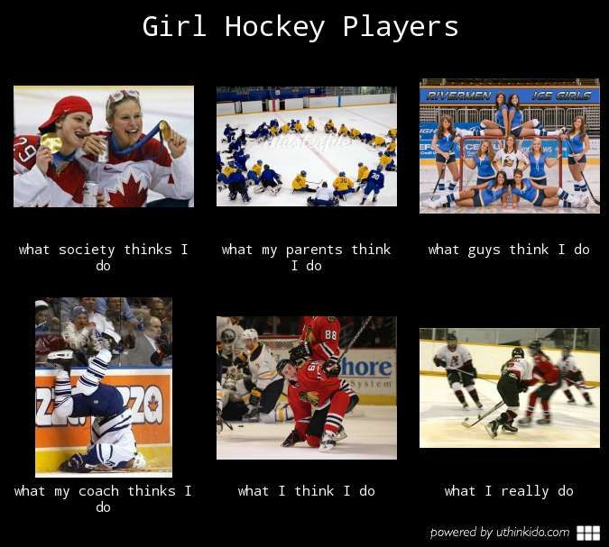 Cool graphic about Girl Hockey Players and what everyone thinks we are really doing ;)