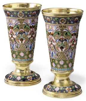 A PAIR OF RUSSIAN SILVER-GILT AND SHADED CLOISONNE ENAMEL BEAKERS  MARK OF GRIGORIY SBITNEV, MOSCOW, 1908/17http://www.christies.com/