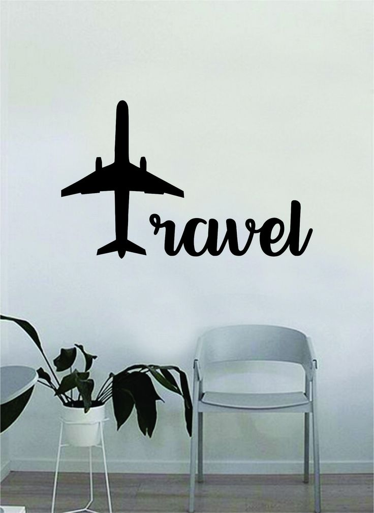 Travel Airplane Quote Wall Decal Sticker Decor Bedroom Living Room Art Vinyl Beautiful Inspirational Travel Explore Wanderlust
